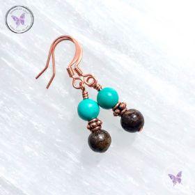 Bronzite & Turquoise Copper Earrings